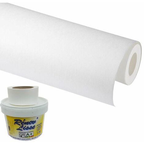 Revêtement de rénovation lisse 330 gr avec isolant de 1.mm pour murs abimés - Lisse les reliefs et défaut jusqu'à 0.5mm d'épaisseur – livré avec bande à joint + enduit pour des joint