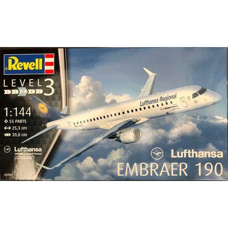 Revell Modellbausatz Flugzeug Lufthansa Embraer 190 im Maßstab 1:144 Level 3, Nr.: 03937