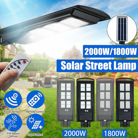 Réverbère à énergie solaire étanche IP65 PIR capteur de mouvement + contr?le de la lumière + télécommande applique murale jardin extérieur sécurité patio (noir, 2800W)