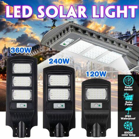 Réverbère solaire Lampes solaires extérieures Imperméable à l'eau Lumière d'inondation solaire Capteur de mouvement Lumière du crépuscule à l'aube Lumière de sécurité (Type A 60 LED)