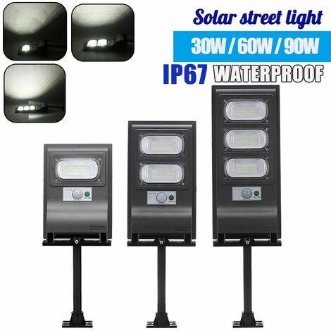 Réverbère solaire Lampes solaires extérieures IP67 Capteur de mouvement étanche Projecteur solaire avec support Dusk (Type B 30 LED)