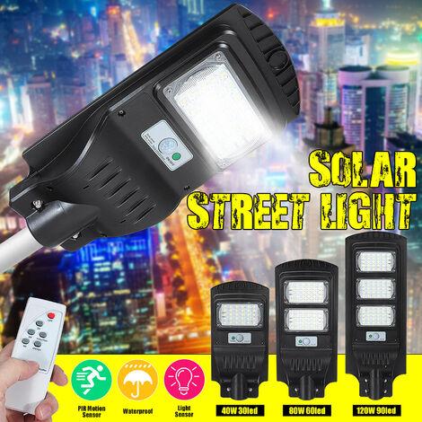 Réverbère solaire Lampes solaires extérieures IP67 Projecteur solaire étanche avec capteur de mouvement Lumière de sécurité pour cour, jardin, rue, terrain de basket 60 LED noir 60LED