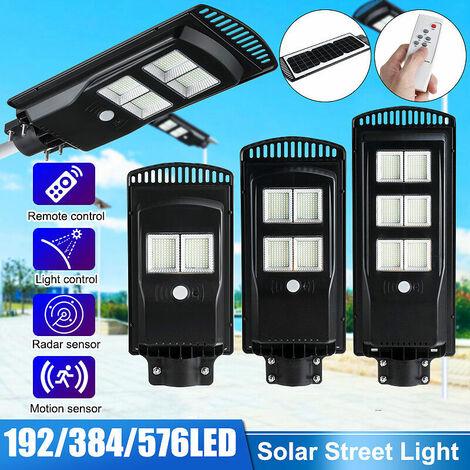 Réverbères muraux à énergie solaire LED Contr?le de la lumière de la lampe étanche IP67 + Télécommande + Induction du corps humain éclairage de jardin extérieur avec télécommande N50 192 perles de lampe 80W avec télécommande
