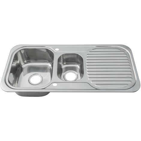 Reversible 1.5 Bowl Stainless Steel Kitchen Sink & Drainer & Waste Kit (E01 mr)