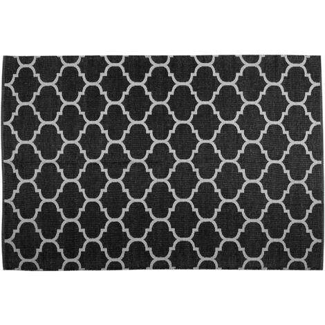 Reversible Area Rug 140 x 200 cm Black and White ALADANA