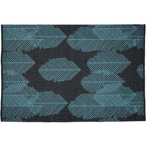 Reversible Area Rug 160 x 230 cm Black and Blue MEZRA