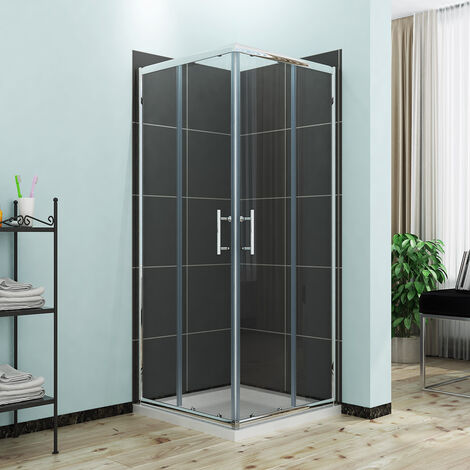 "main image of ""Reversible Corner Entry Shower Enclosure Square Sliding Doors 800 x 800 mm Universal Design Shower Cubicle"""