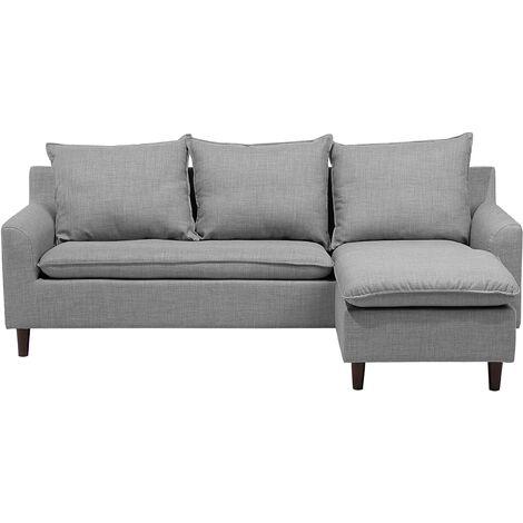 Reversible Fabric Corner Sofa Light Grey ELVENES