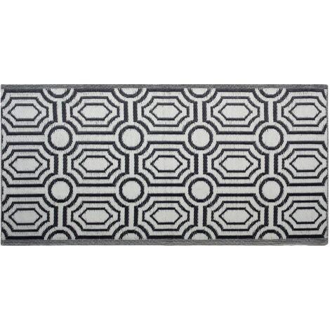 Reversible Outdoor Area Rug Mat 90 x 180 cm Modern Geometric Black Pattern Bidar
