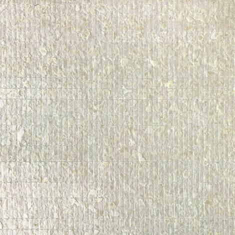 Revestimiento de pared de lujo concha WallFace CSA02 CAPIZ papel pintado no tejido hecho a mano con conchas reales de Capiz óptica de nácar crema-blanco 2,45 m2