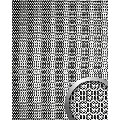 Revestimiento mural 3D WallFace 17239 RACE Decoración en forma redonda Placa mural autoadhesiva plateado gris 2,60 m2