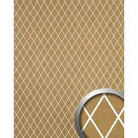 Revestimiento mural adhesivo WallFace 18606 TL LINEA diseño mosaico de rombos color dorado beige junturas translúcidas 2,60 m2