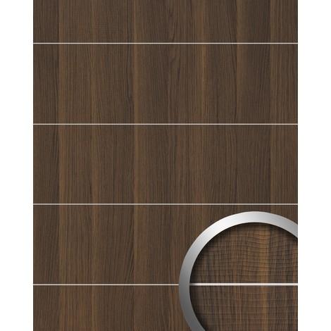 Revestimiento mural aspecto madera WallFace 19099 NUTWOOD 8L nogal decoración cintas metálicas cepilladas panel de pared adhesivo marrón oscuro 2,60 m2