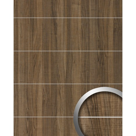 Revestimiento mural aspecto madera WallFace 19100 NUTWOOD COUNTRY 8L nogal decoración cintas metálicas cepilladas panel de pared adhesivo marrón 2,60 m2