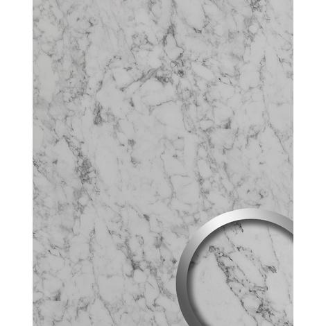 Revestimiento mural aspecto mármol WallFace 19338 MARBLE WHITE Panel decorativo liso de aspecto piedra mate autoadhesivo blanco blanco-grisáceo 2,6 m2