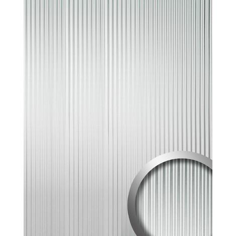 Revestimiento mural autoadhesivo con ranuras verticales M WallFace 11360 WAVE plata brillante efecto lacado 2,60 m2