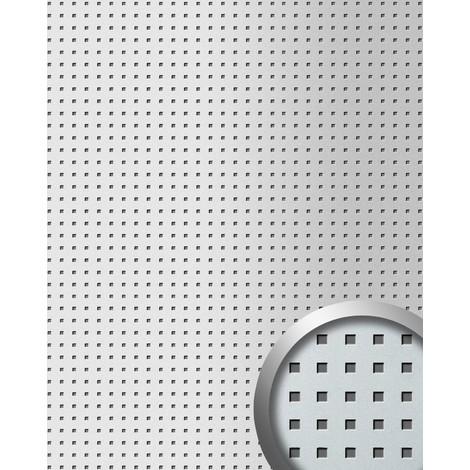 Revestimiento mural autoadhesivo diseño cuadrados WallFace 10988 3D QUAD perforados color plata metalic 2,60 m2