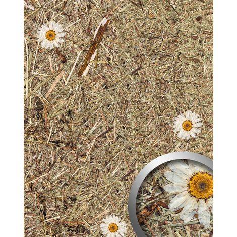 Revestimiento mural decoración natural WallFace AL-11004 ALPINE WHITE DAISY Panel de pared texturado con flores y hierbas naturales crudas alpinas mate autoadhesivo marrón blanco 4,026 m2
