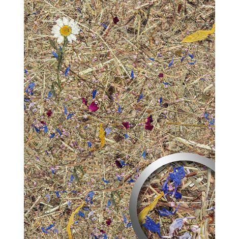 Revestimiento mural decoración natural WallFace AL-11005 ALPINE POTPOURRI Panel de pared texturado con flores y hierbas naturales crudas alpinas mate autoadhesivo marrón blanco azul fucsia 4,026 m2