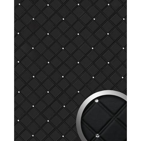 Revestimiento mural Estilo Cuero Cristales de Vidrio WallFace 15034 CRISTAL ROMBO Panel autoadhesivo negro 2,60 m2