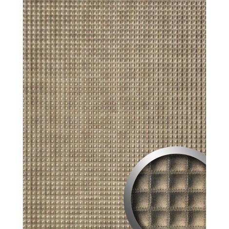 Revestimiento mural Estilo cuero Cuadrado WallFace 17851 QUADRO Panel de lujo autoadhesivo bronce brillante 2,60 m2