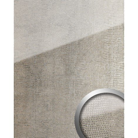 Revestimiento mural Vidrio WallFace 16979 LEGUAN Panel autoadhesivo resistente a la abrasión plateado gris 2,60 m2