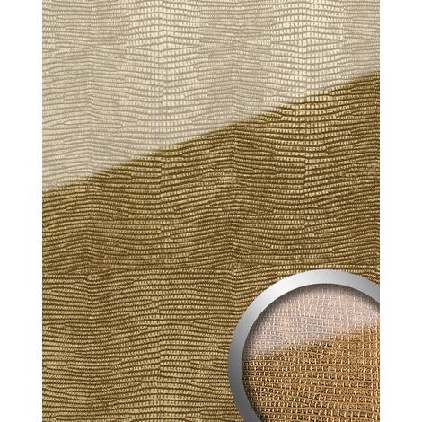 Revestimiento mural Vidrio WallFace 16982 LEGUAN Panel autoadhesivo resistente a la abrasión dorado marrón 2,60 m2