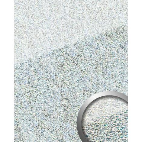 Revestimiento mural Vidrio WallFace 16990 COCKTAIL Panel autoadhesivo plateado blanco 2,60 m2