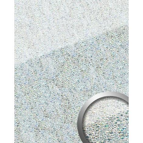 Revestimiento mural Vidrio WallFace 17000 COCKTAIL Panel autoadhesivo resistente a la abrasión plateado blanco 2,60 m2
