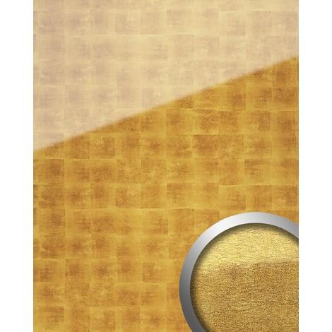 Revestimiento mural Vidrio WallFace 17840 LUXURY Cubos Panel resistente a la abrasión dorado beige 2,60 m2