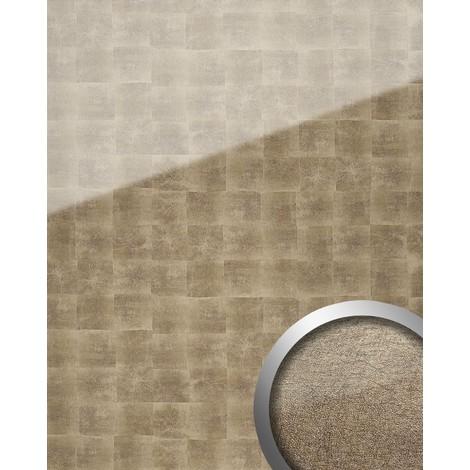 Revestimiento mural Vidrio WallFace 17841 LUXURY Cubos Panel autoadhesivo resistente a la abrasión bronce gris 2,60 m2