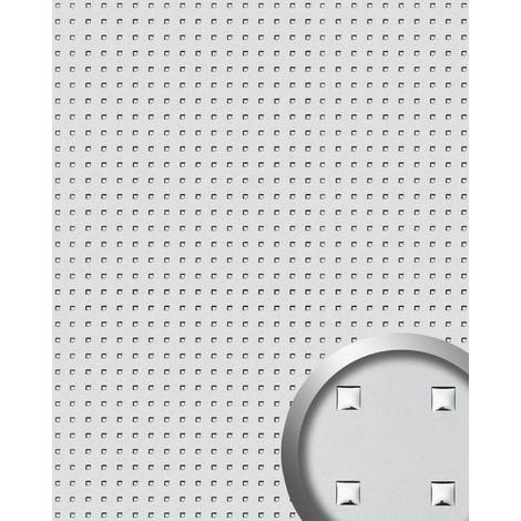 Revestimiento mural WallFace 10053 3D QUAD autoadhesivo diseño cuadrados perforados con hoja base color plata 2,60 m2