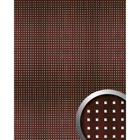 Revestimiento mural WallFace 10059 3D QUAD autoadhesivo diseño cuadrados perforados con hoja base mahagoni plata 2,6m2