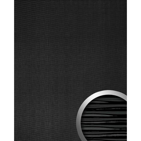 Revestimiento mural WallFace 15763 MOTION TWO autoadhesivo con ranuras horizontales efecto lacado color negro 2,6m2