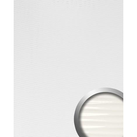 Revestimiento mural WallFace 15764 MOTION TWO autoadhesivo con ranuras horizontales efecto lacado color blanco 2,6m2