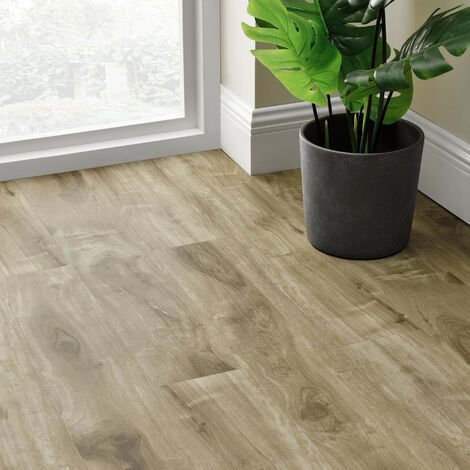 Revêtement de Sol Adhésif Lames Laminées PVC Vinyle Effet Naturel Compatible au Plancher Chauffant 28 Pièces 3,92 m² Natural Siberian Oak Chêne Sibérien