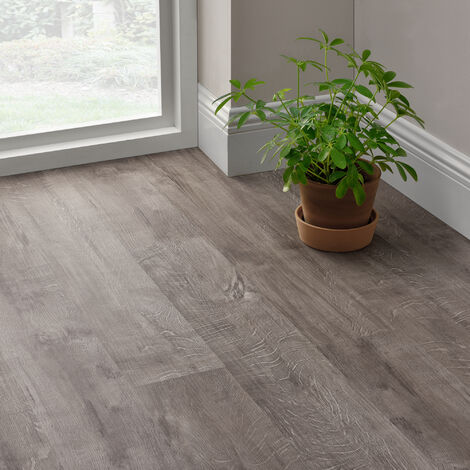 Revêtement de Sol Adhésif Lames Laminées PVC Vinyle Effet Naturel Compatible au Plancher Chauffant 28 Pièces 3,92 m² Slashed Oak Chêne de Montagne Rocheuse