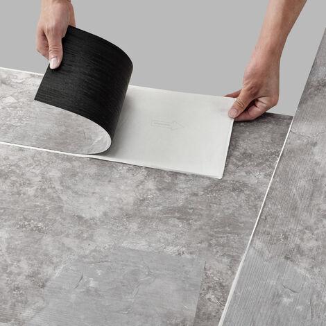 Revêtement de Sol Adhésif Lames Laminées PVC Vinyle Effet Naturel Compatible au Plancher Chauffant 28 Pièces 3,92 m² Slate Grey Oak Chêne Gris Ardoise