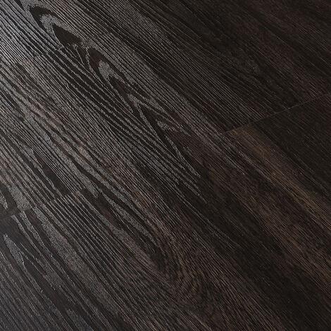 Revêtement de Sol Adhésif Lames Laminées PVC Vinyle Effet Naturel Compatible au Plancher Chauffant 28 Pièces 3,92 m² Wengé Mat