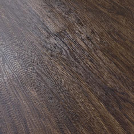 Revêtement de Sol Adhésif Lames Laminées PVC Vinyle Effet Naturel Compatible au Plancher Chauffant 7 Pièces 0,975 m² Chêne Foncé Mat