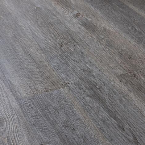 Revêtement de Sol Adhésif Lames Laminées PVC Vinyle Effet Naturel Compatible au Plancher Chauffant 7 Pièces 0,975 m² Chêne Gris Mat