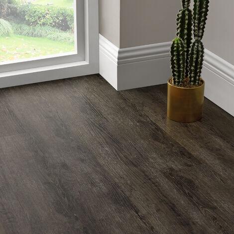 Revêtement de Sol Adhésif Lames Laminées PVC Vinyle Effet Naturel Compatible au Plancher Chauffant 7 Pièces 0,975 m² Dark Oak Chêne Foncé