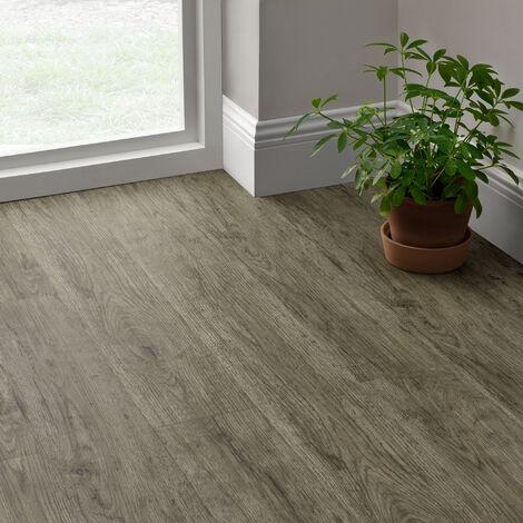 Revêtement de Sol Adhésif Lames Laminées PVC Vinyle Effet Naturel Compatible au Plancher Chauffant 7 Pièces 0,975 m² Grey Accent Oak Chêne Grisé