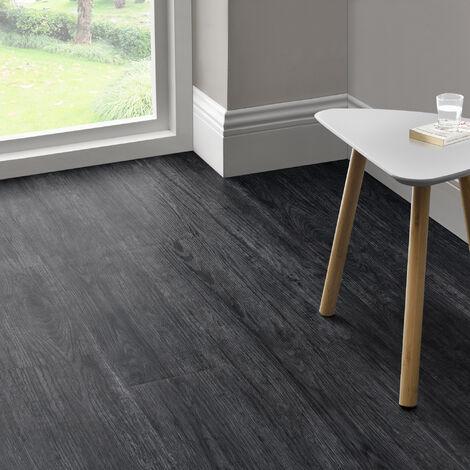 Revêtement de Sol Adhésif Lames Laminées PVC Vinyle Effet Naturel Compatible au Plancher Chauffant 7 Pièces 0,975 m² Night Oak Chêne Noir