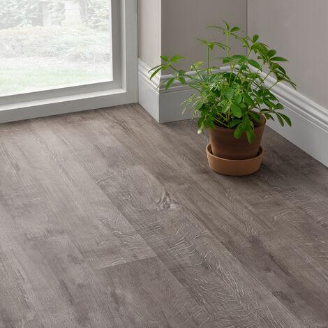 Revêtement de Sol Adhésif Lames Laminées PVC Vinyle Effet Naturel Compatible au Plancher Chauffant 7 Pièces 0,975 m² Slashed Oak Chêne de Montagne Rocheuse