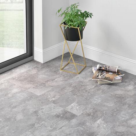 Revêtement de Sol Adhésif Lames Laminées PVC Vinyle Effet Naturel Compatible au Plancher Chauffant 7 Pièces 0,975 m² Slate Grey Oak Chêne Gris Ardoise