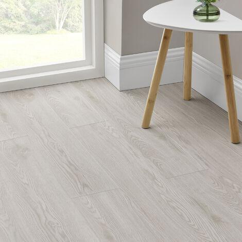 Revêtement de Sol Adhésif Lames Laminées PVC Vinyle Effet Naturel Compatible au Plancher Chauffant 7 Pièces 0,975 m² White Oak Chêne Blanchi