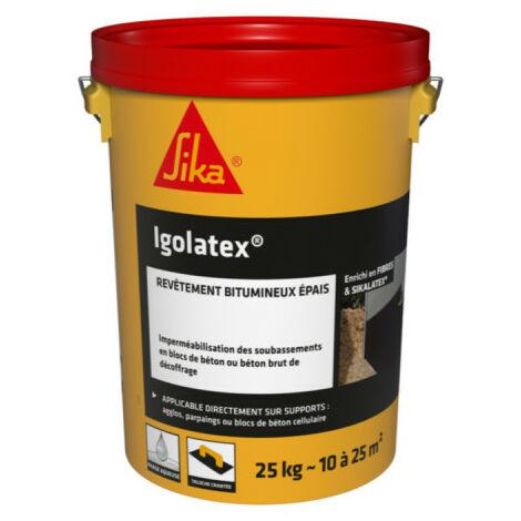 Revêtement d'imperméabilisation bitumineux pour les soubassements - SIKA Igolatex - Noir - 25kg
