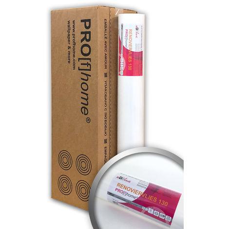 Revêtement intissé à peindre 130 g Profhome 399-130 fibre de rénovation lisse   4 rouleaux 75 m2