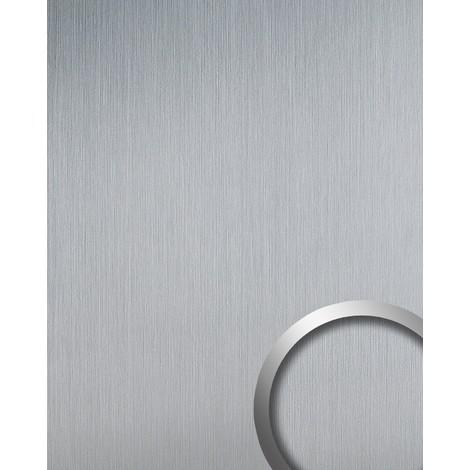 Revêtement mural auto-adhésif Aimantin aspect métal WallFace 14409 DECO Design Style d'argent brossé mat 2,60 m2